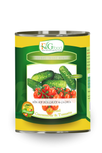 Canned assorted pickled Cucumber & Tomato